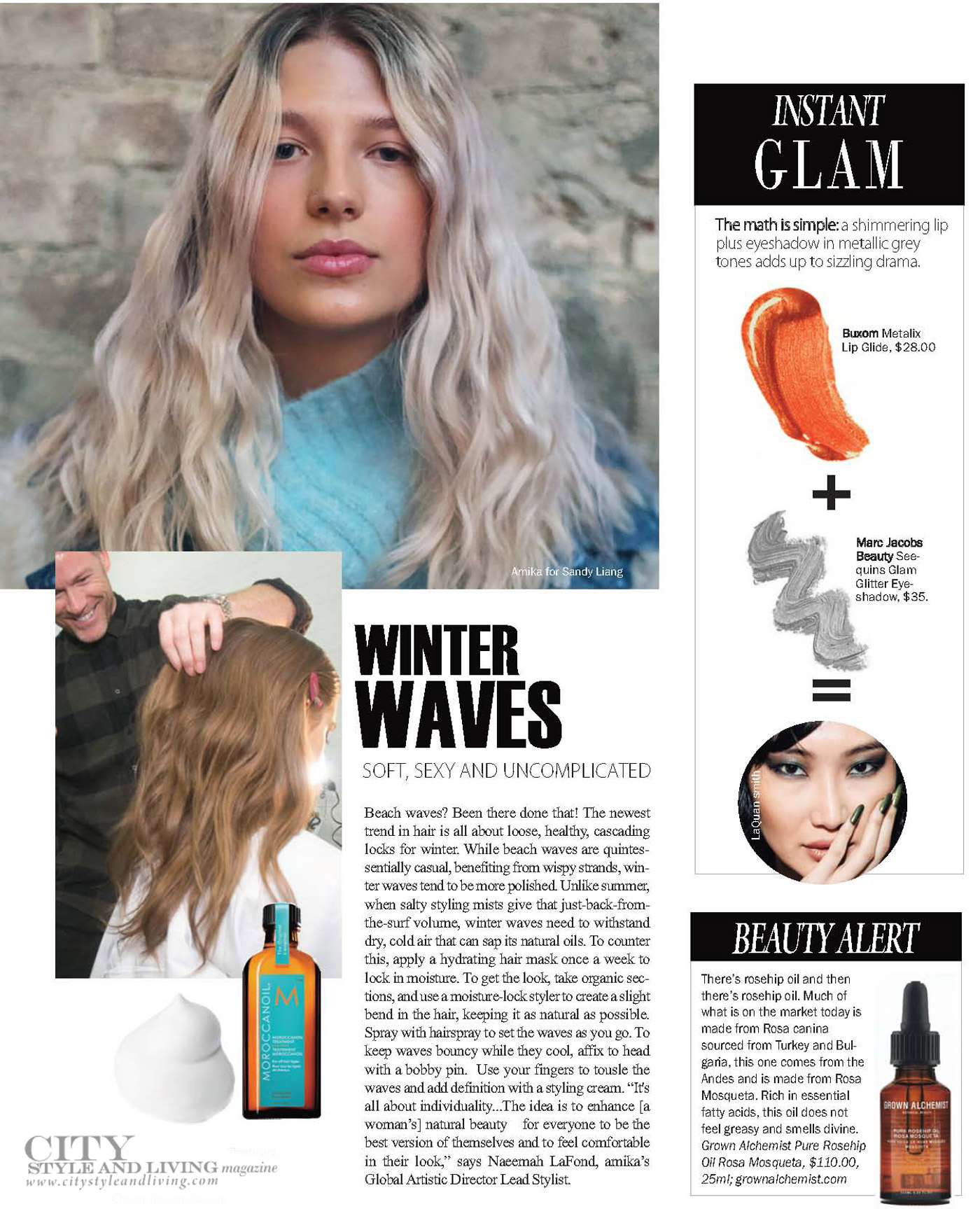 City Style and Living Magazine Winter 2018  Runway winter waves and skincare