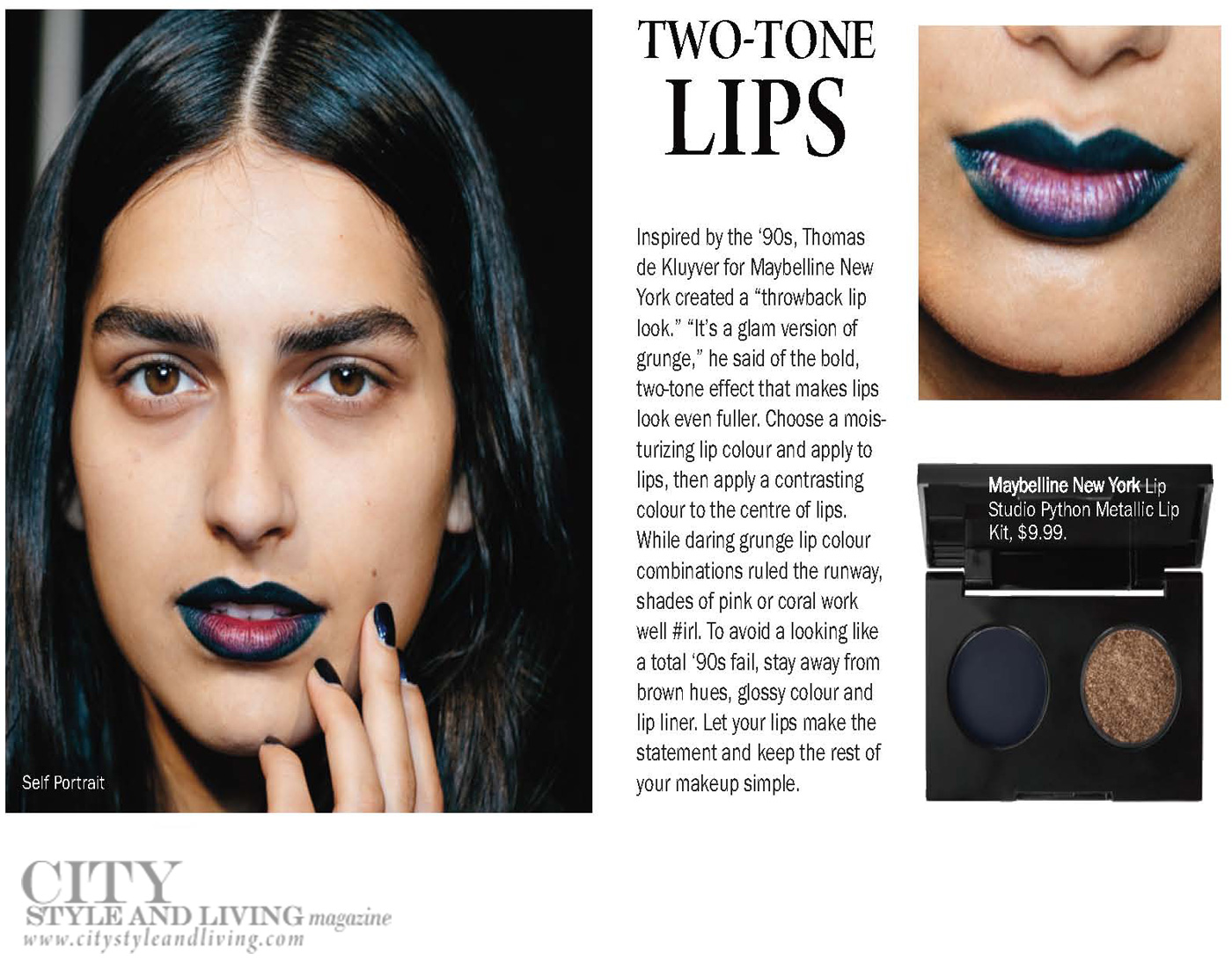 City Style and Living Magazine Winter 2018  Runway two tone lips