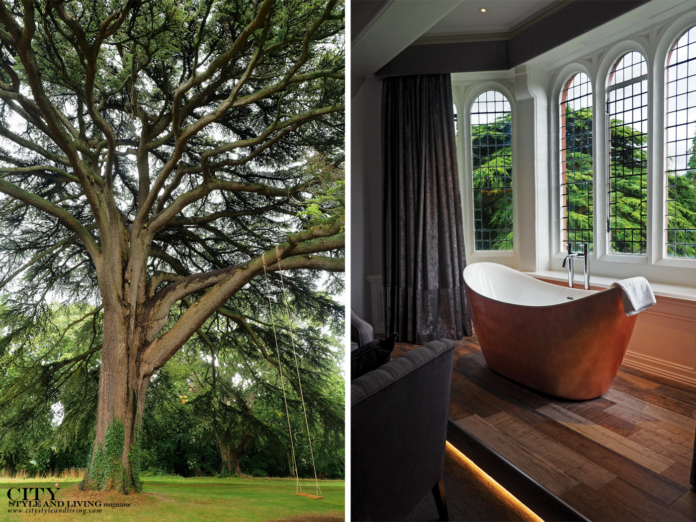 City Style and Living Magazine Winter 2018 Travel Luxury Hotels Wales Caer Rhun Hall lebanon tree and copper soaking tub in room