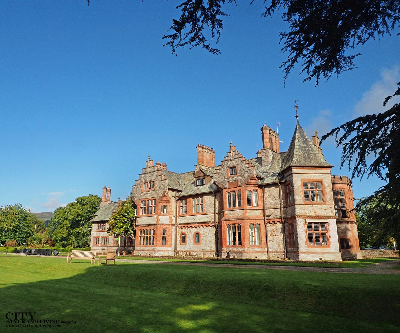 City Style and Living Magazine Winter 2018 Travel Luxury Hotels Wales Caer Rhun Hall Exterior of mansion