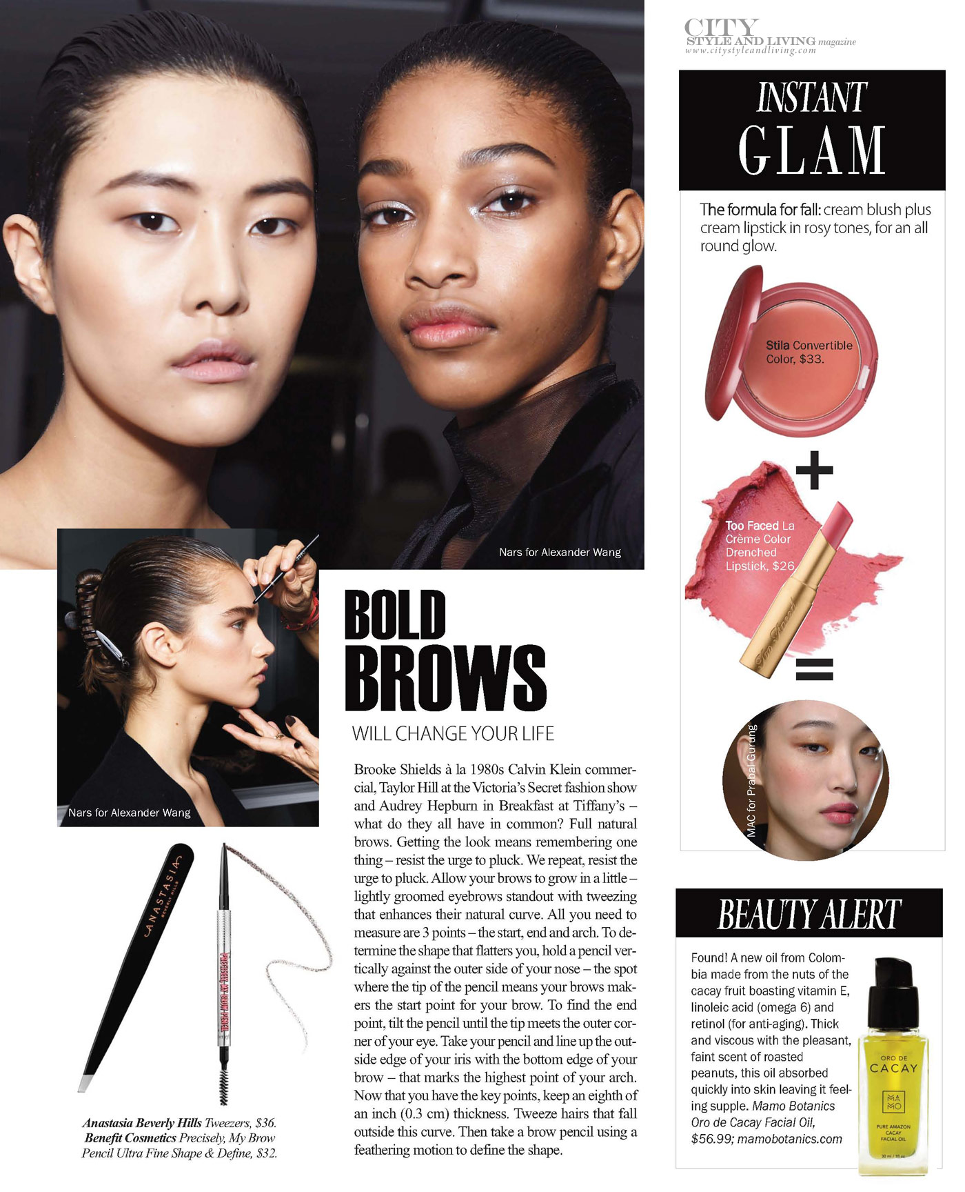City Style and Living Magazine Winter 2018 Beauty Fall Runway trends bold brows