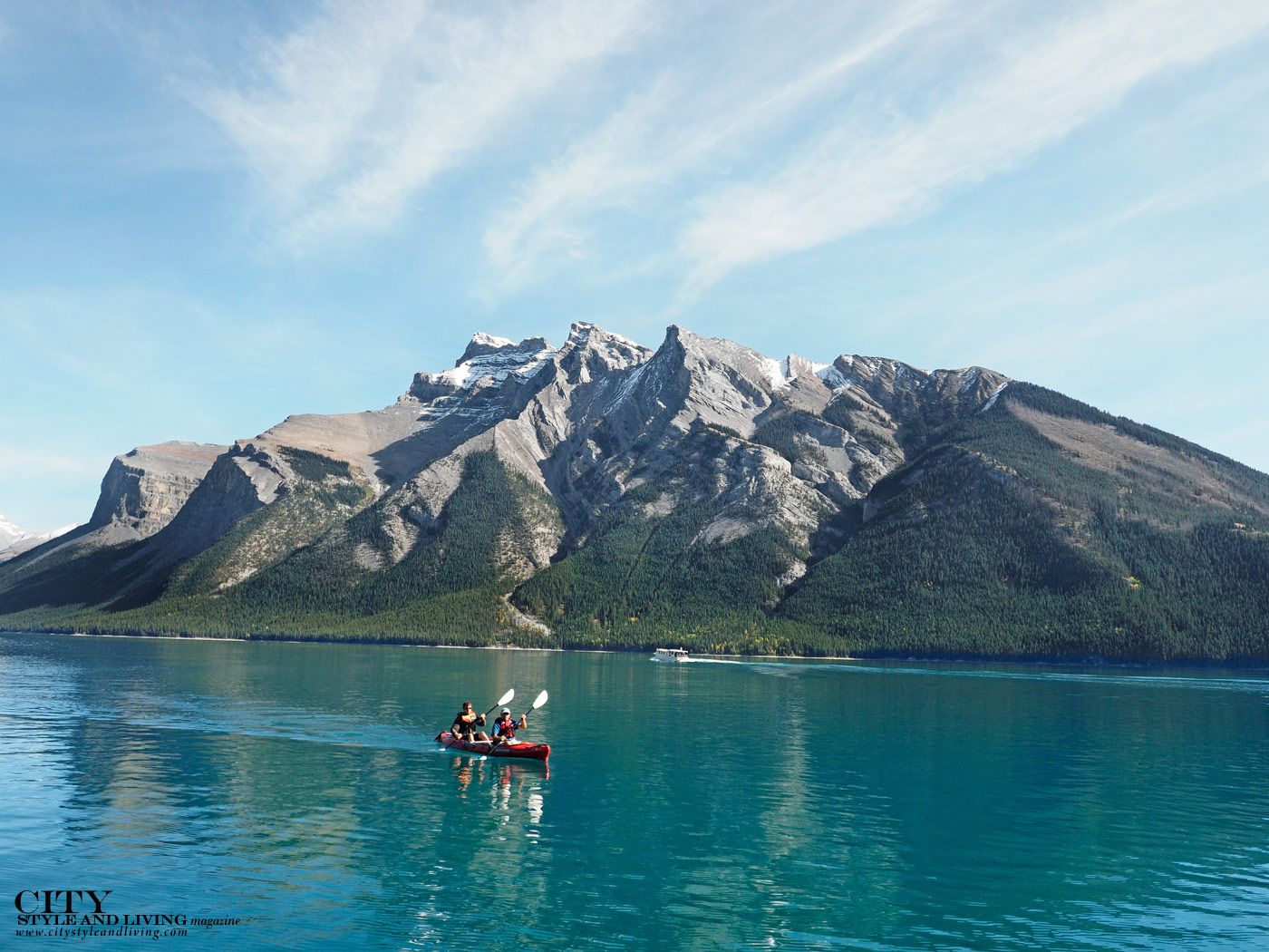 City Style and Living Magazine Spring Road Trip Rocky Mountain Road Trip Alberta Canoe on Lake Minnewanka
