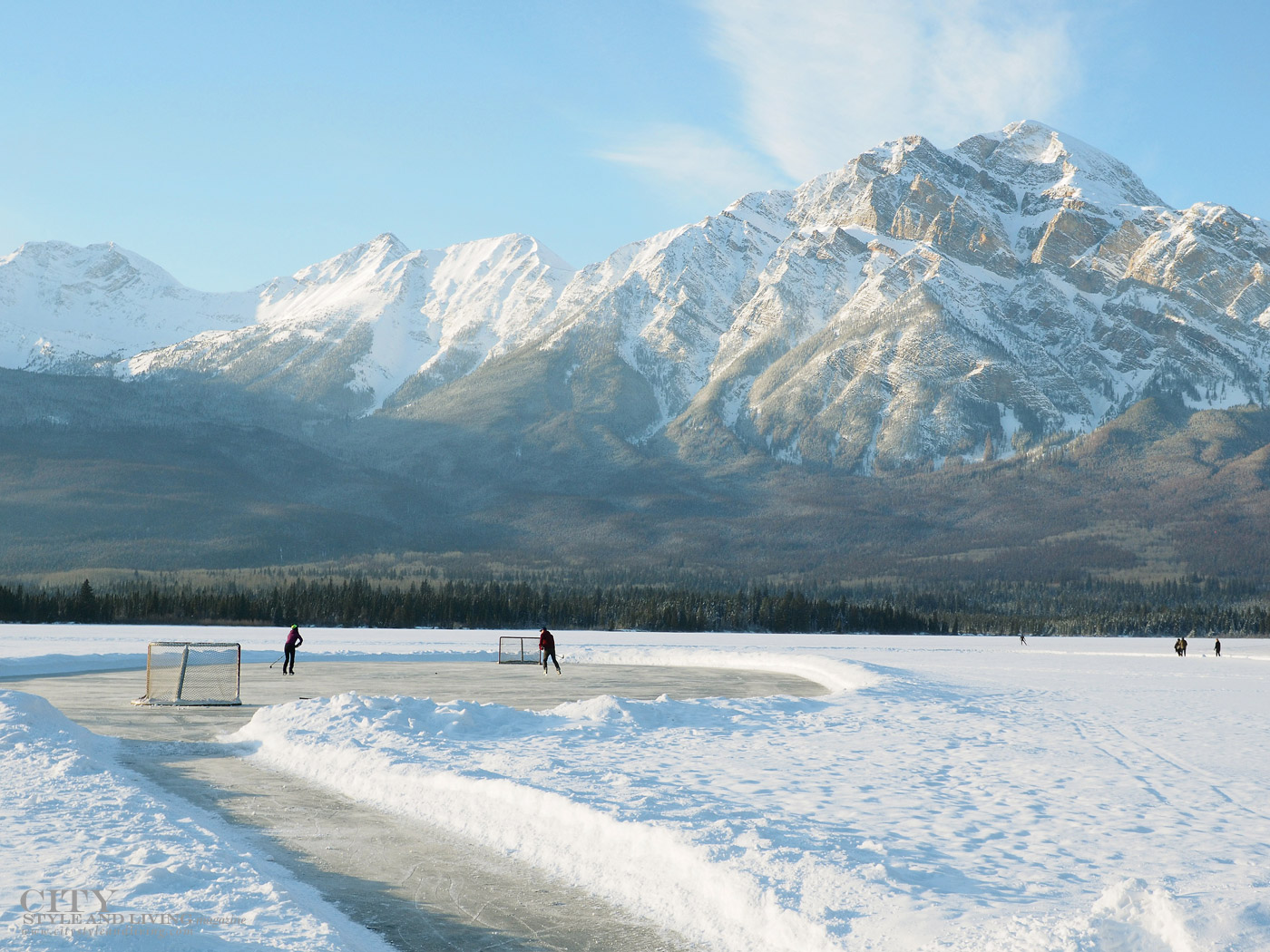 City Style and Living Magazine Spring Road Trip Rocky Mountain Road Trip Alberta frozen lake ice hockey