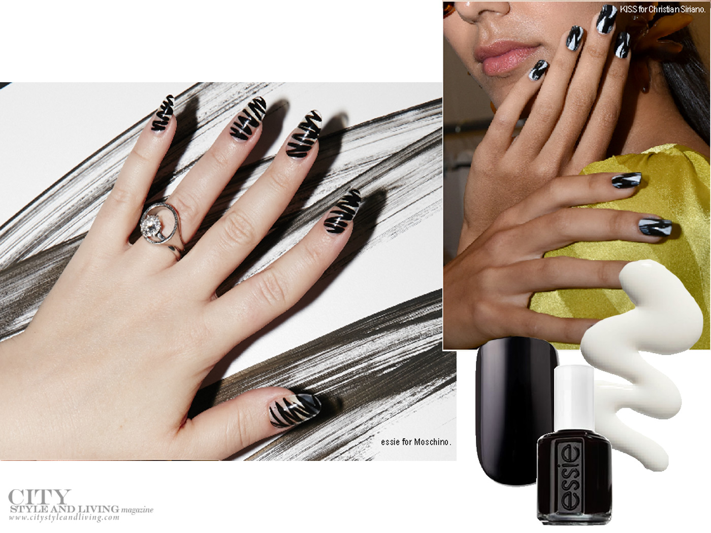 City Style and Living Magazine spring and summer nail trends black and white