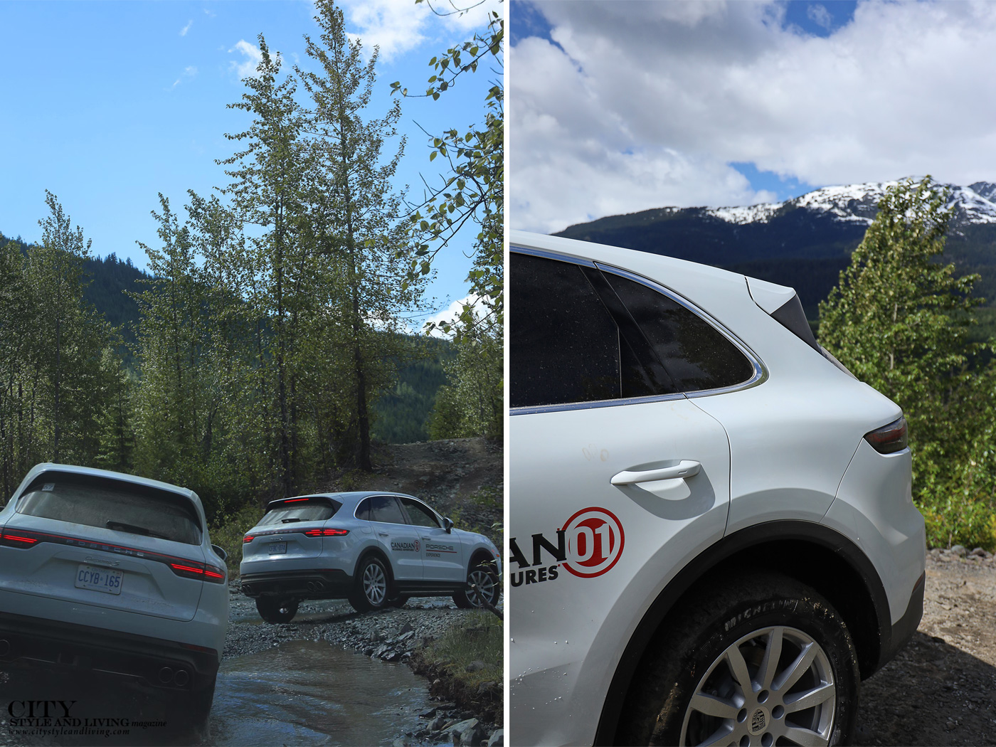 City Style and Living Magazine Summer 2019 Porsche Experience Whistler Cayenne S off road whistler and snow capped mountain