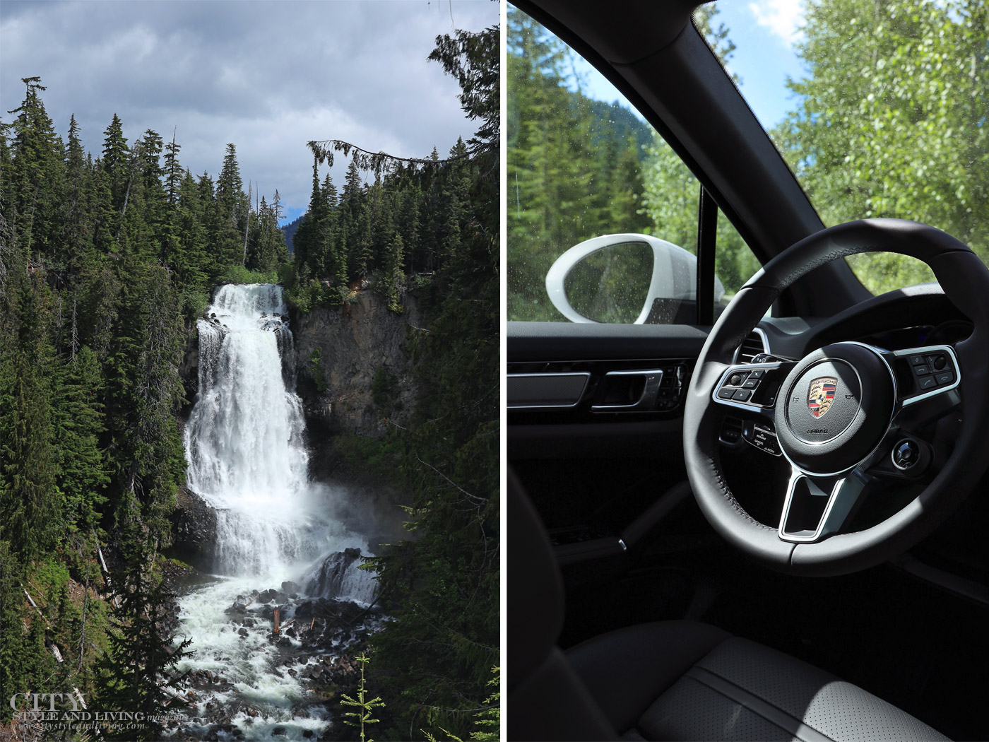 City Style and Living Magazine Summer 2019 Porsche Experience Whistler Cayenne S Waterfall and inside vehicle