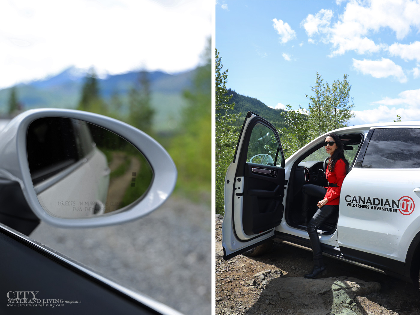 City Style and Living Magazine Summer 2019 Porsche Experience Whistler Cayenne S rear view mirror and getting out of vehicle