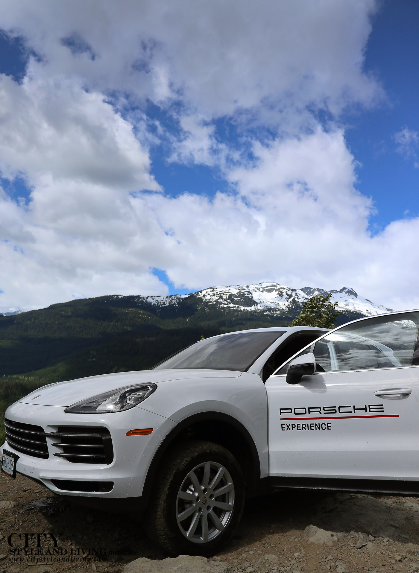 City Style and Living Magazine Summer 2019 Porsche Experience Whistler Cayenne S Snow capped mountain