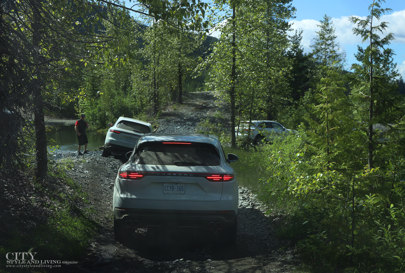 City Style and Living Magazine Summer 2019 Porsche Experience Whistler Cayenne S off roading through creek