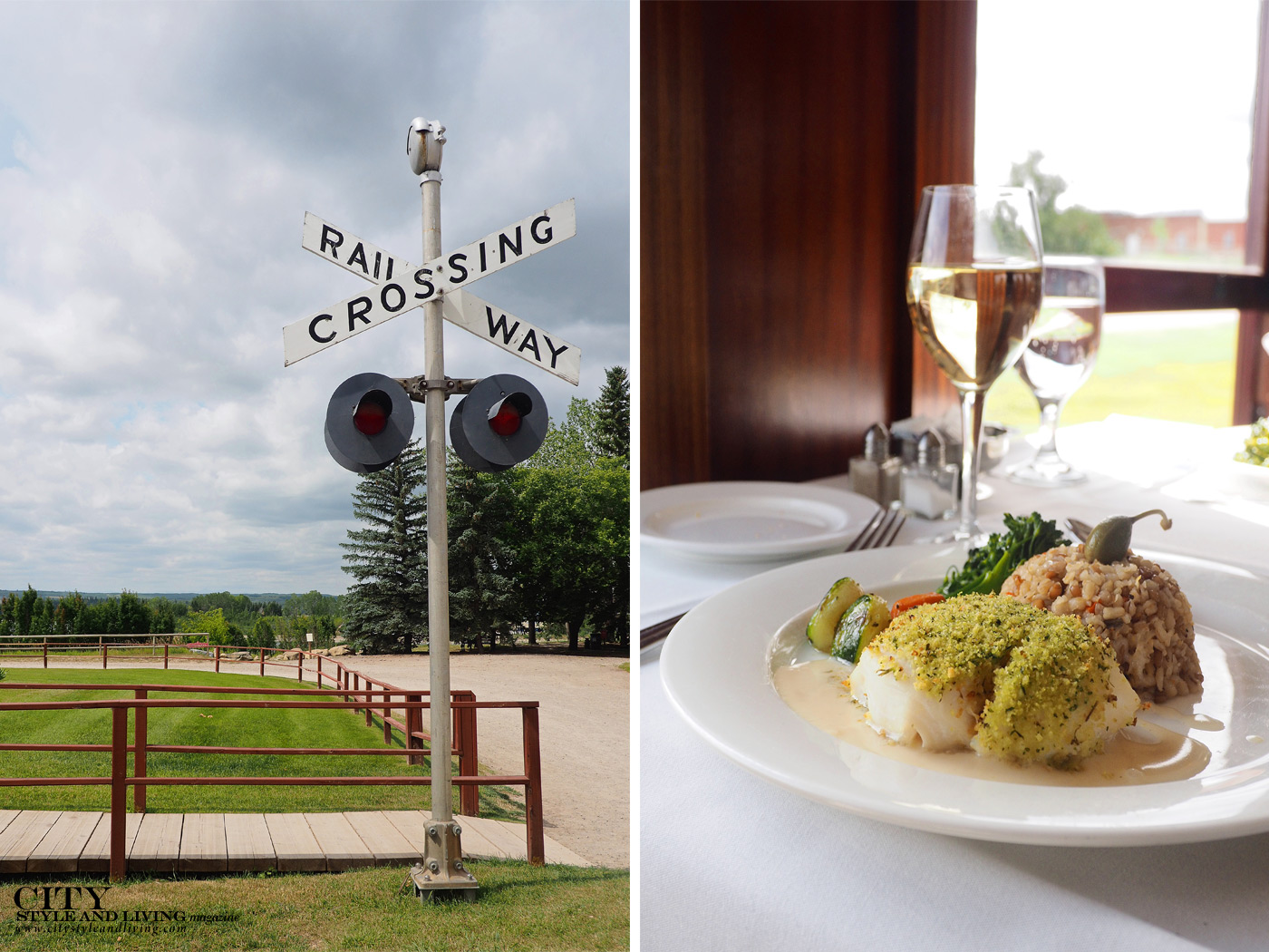 City Style and Living Magazine Travel Epic Train journeys in southern Alberta Heritage Park railway crossing and halibut lunch