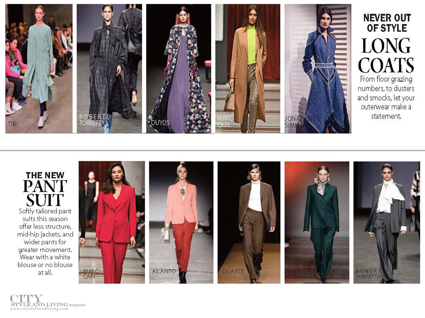 City Style and Living Magazine Fashion Fall 2019 colours and pant suit