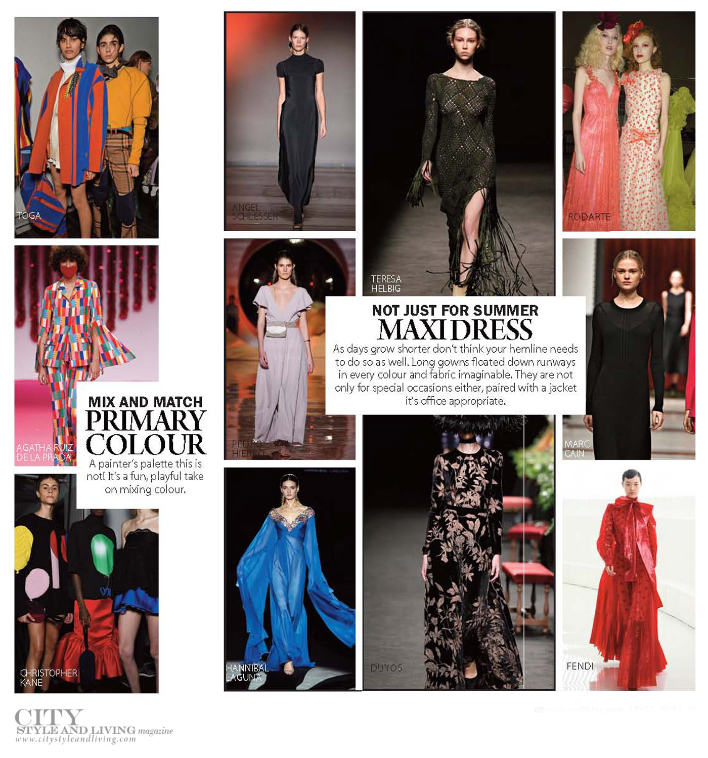 City Style and Living Magazine Fashion Fall 2019  primary colour and maxi dress