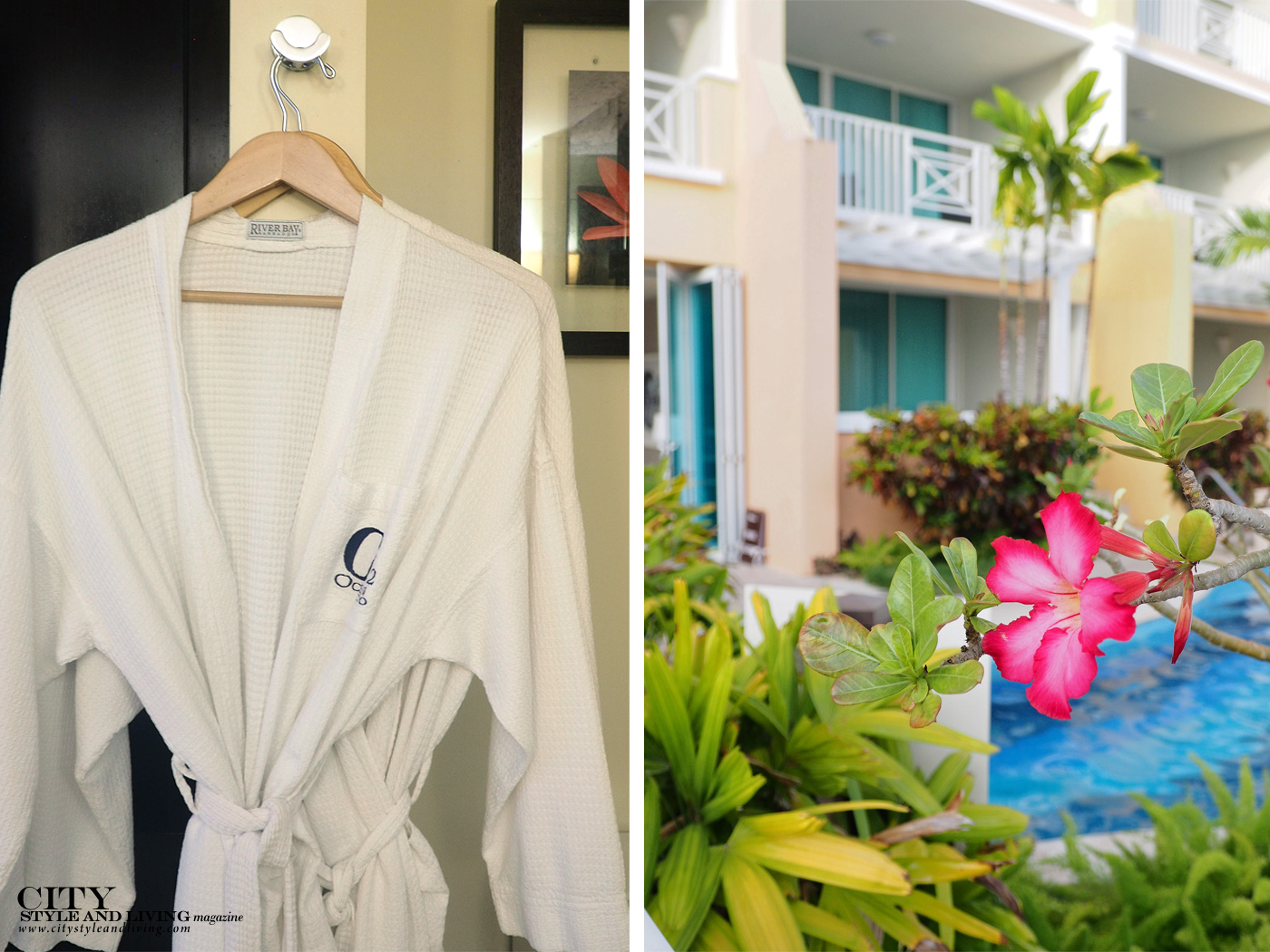 City Style and Living Magazine Winter Barbados Oceans Two Resort and Residences Kailash Maharaj bathrobe and pool