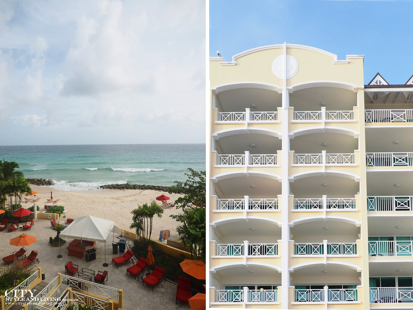 City Style and Living Magazine Winter Barbados Oceans Two Resort and Residences Kailash Maharaj overlooking the beach and the hotel tower