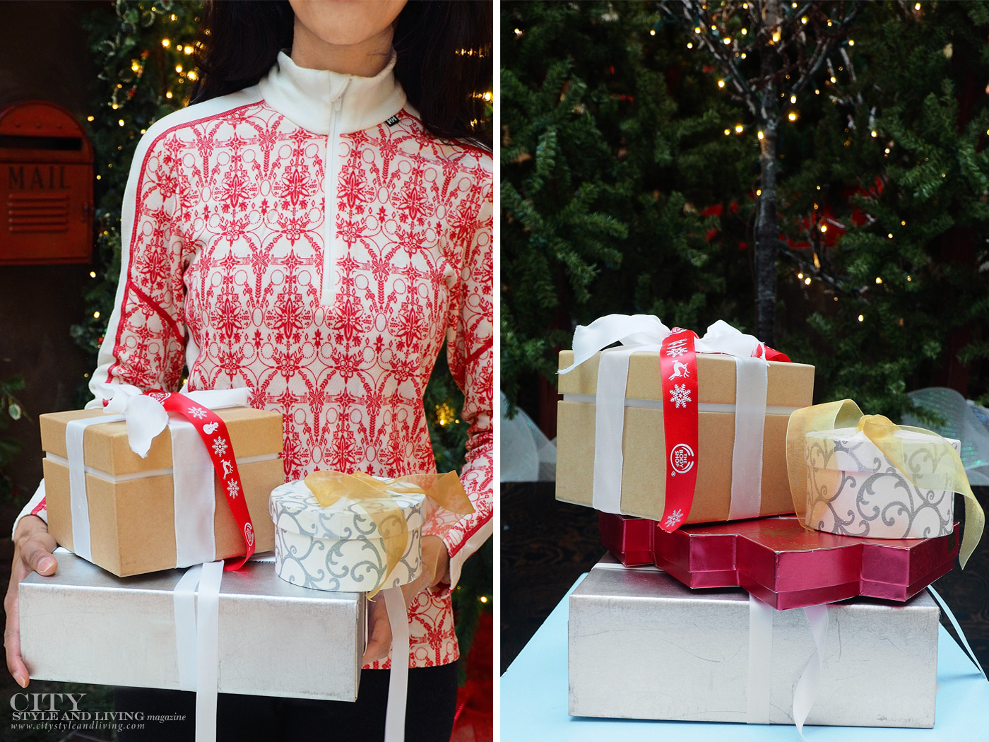 City Style and Living Magazine Winter Shopping hacks for holiday with ups holding presents near mailbox