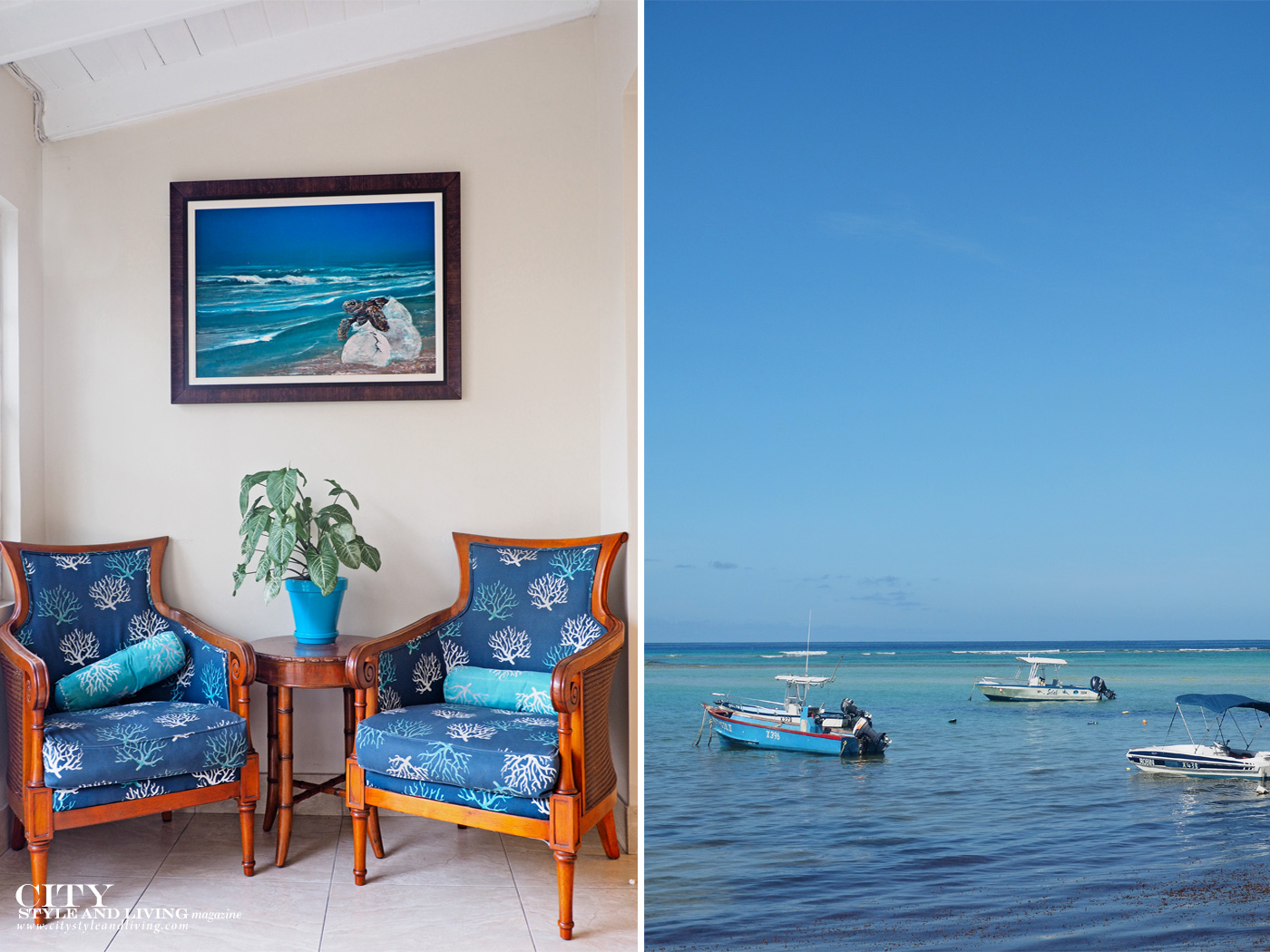City Style and Living Magazine Winter 2019 Barbados Yellow Bird hotel Kailash Maharaj lobby art and boats