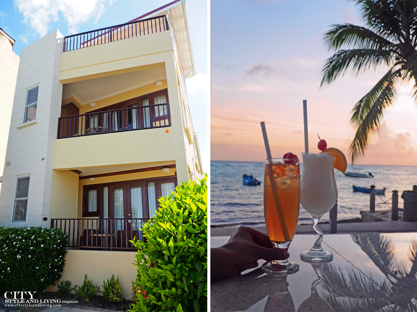 City Style and Living Magazine Winter 2019 Barbados Yellow Bird hotel Kailash Maharaj suites and cocktails at sunset