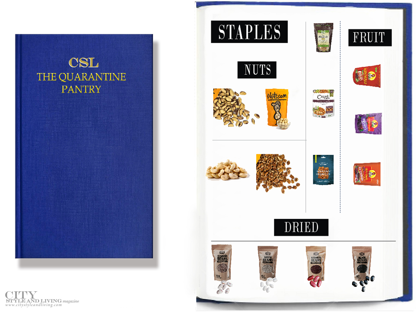 City Style and Living Magazine fall 2020 Quarantine Pantry staples, nuts, beans
